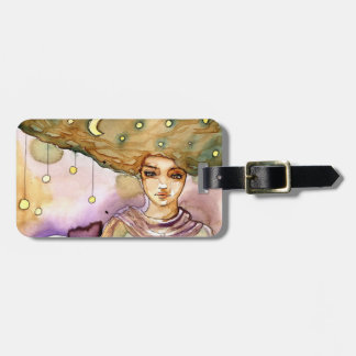 Abstract portrait and pretty woman luggage tag