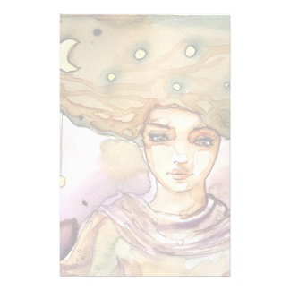 Abstract portrait and pretty woman stationery paper