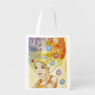 Abstract portrait reusable grocery bag