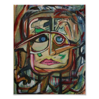 """Abstract Print by ValAries """"FaceMap"""" 8"""" x 10"""""""