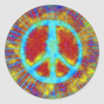 Abstract Psychedelic Fine Tie-Dye Peace Sign Round Sticker