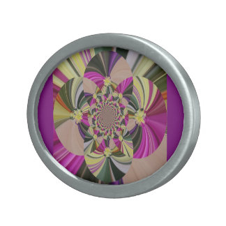 Abstract Psychedelic Pattern Oval Belt Buckle