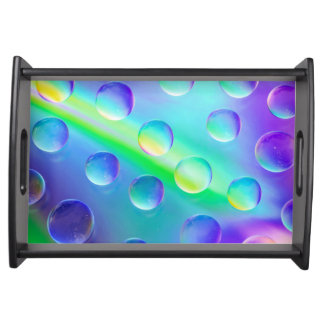 Abstract Psychedelic Rainbow Drops Serving Tray