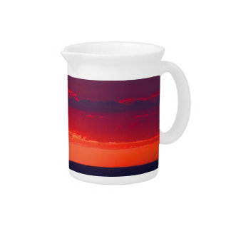 Abstract Purple and Orange Sunset Pitcher
