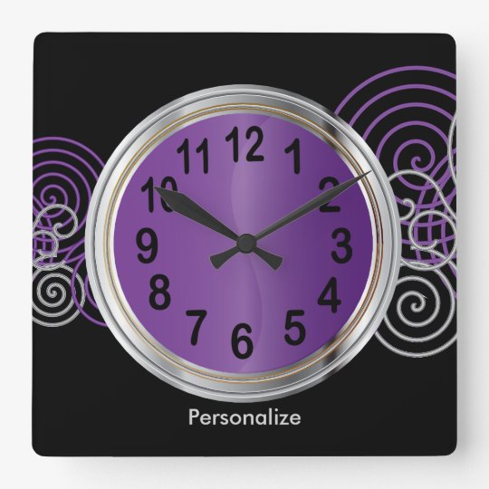 Abstract Purple and Silver Metallic Design Square Wall