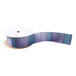 Abstract Purple and Teal Gradient Stripes Pattern Satin Ribbon