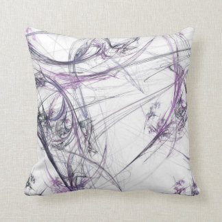 Abstract Purple and White Fractal Pillow