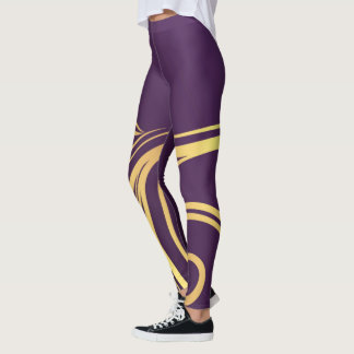 Abstract Purple and Yellow Design Leggings
