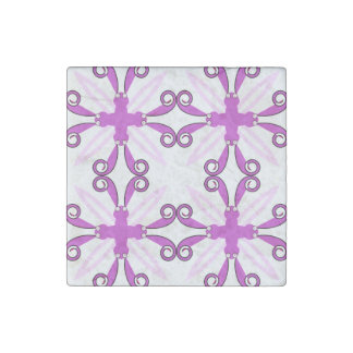 Abstract Purple Awareness Butterfly Stone Magnet