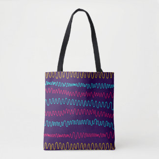 Abstract Purple Background Squiggly Lines Tote Bag