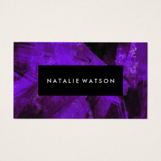Abstract Purple Dark Paint Modern Elegant Business Card
