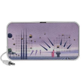 Abstract purple Doodle Speakers Notebook Speakers
