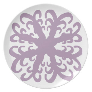 Abstract Purple Flower Plate