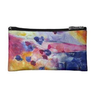 Abstract Purple Flowers Bagette Makeup Bag