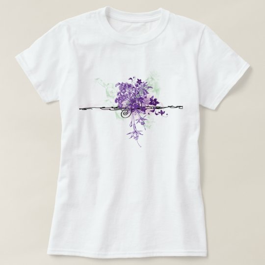 Abstract Purple Flowers Floral Bouquet T-Shirt