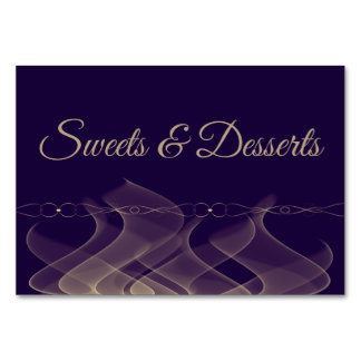 Abstract Purple/Gold Sweets Wedding Table Sign Card