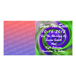 Abstract Purple Green Photo Wedding Save The Date Photo Greeting Card