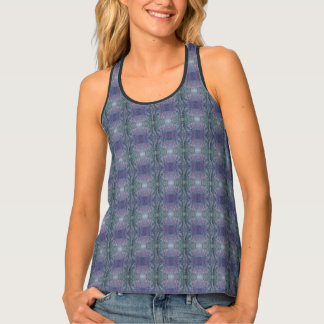 Abstract Purple Kaleidoscope Print Tank Top