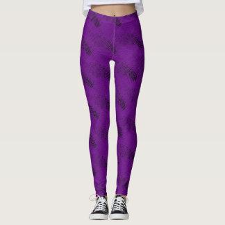 Abstract Purple Lines Modern Black Leggings