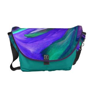 Abstract Purple N Teal Leaf Messenger Bag