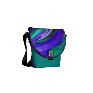 Abstract Purple N Teal Leaf Messenger Bag -Sm