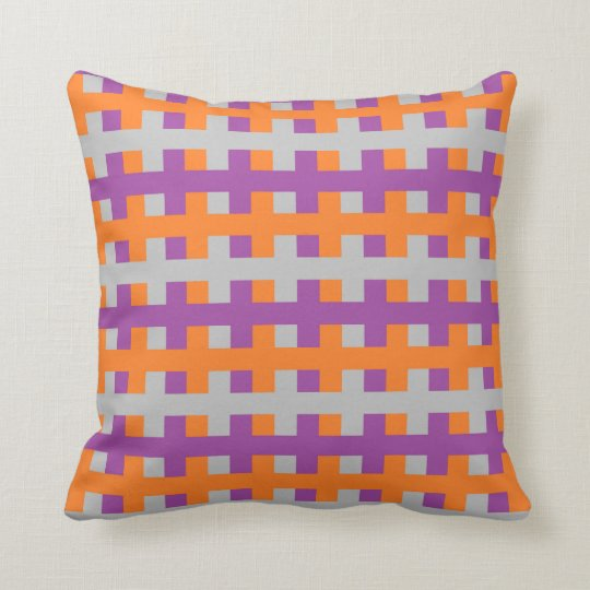 Abstract Purple, Orange and Silver Cushion