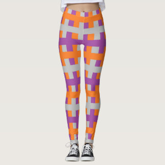 Abstract Purple, Orange and Silver Leggings