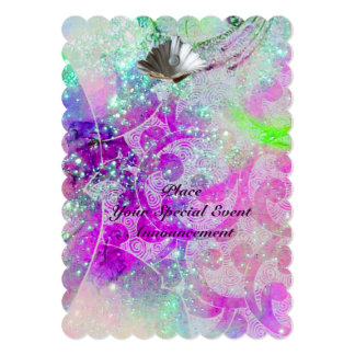 "ABSTRACT PURPLE PINK BLUE WAVES SEASHELLS,SPARKLES 5"" X 7"" INVITATION CARD"