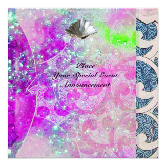 "ABSTRACT PURPLE PINK BLUE WAVES SEASHELLS,SPARKLES 5.25"" SQUARE INVITATION CARD"