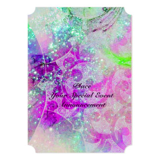 ABSTRACT PURPLE PINK TEAL BLUE WAVES  IN SPARKLES PERSONALIZED ANNOUNCEMENT
