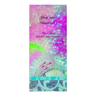 "ABSTRACT PURPLE PINK TEAL BLUE WAVES IN SPARKLES 4"" X 9.25"" INVITATION CARD"