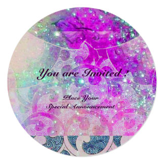 """ABSTRACT PURPLE PINK TEAL BLUE WAVES  IN SPARKLES 5.25"""" SQUARE INVITATION CARD"""