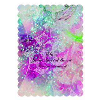 """ABSTRACT PURPLE PINK TEAL BLUE WAVES  IN SPARKLES 5"""" X 7"""" INVITATION CARD"""