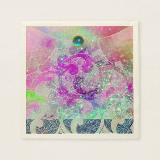 ABSTRACT PURPLE PINK TEAL BLUE WAVES  IN SPARKLES PAPER SERVIETTES