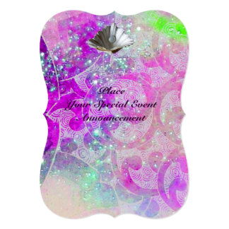 "ABSTRACT PURPLE PINK WAVES SEASHELLS ,BLUE RIBBON 5"" X 7"" INVITATION CARD"