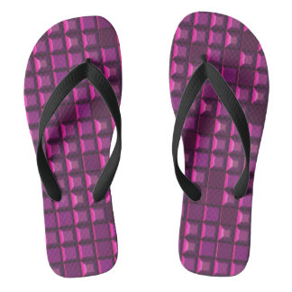 Abstract purple topless pyramid 3D-pattern Flip Flops