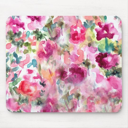 Abstract Purple Watercolor Floral Background Mouse Mat