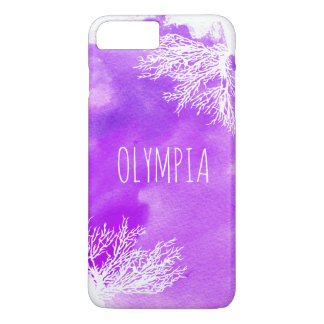 Abstract purple watercolor splash and white reef iPhone 7 plus case