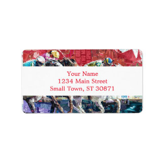 Abstract Race Horses Collage Address Label