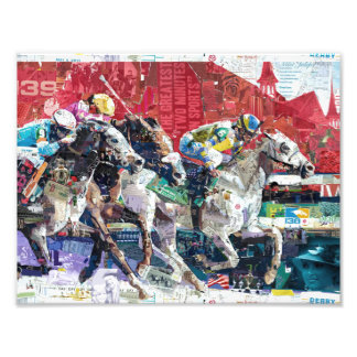Abstract Race Horses Collage Art Photo