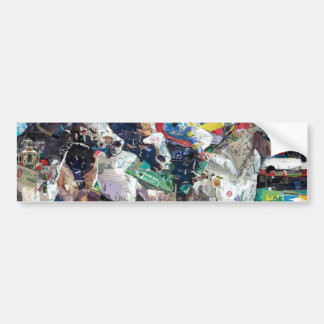 Abstract Race Horses Collage Bumper Sticker