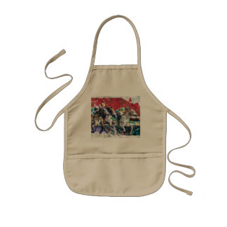 Abstract Race Horses Collage Kids Apron