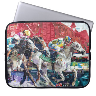 Abstract Race Horses Collage Laptop Sleeve
