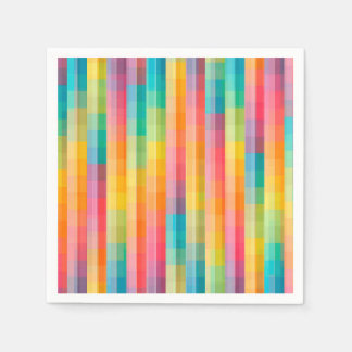 Abstract Rainbow Colors Grid Background Disposable Serviette