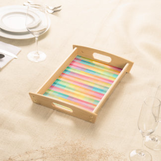 Abstract Rainbow Colors Grid Background Serving Tray