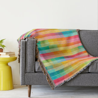 Abstract Rainbow Colors Grid Background Throw Blanket