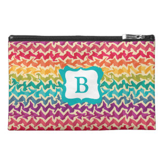 Abstract rainbow coloured bag - Add your initial Travel Accessory Bag