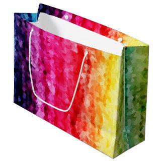 Abstract rainbow crystals digital print paper bag