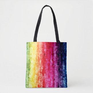 Abstract rainbow crystals digital print tote bag