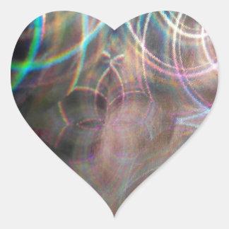 Abstract Rainbow Light Patterns Heart Sticker